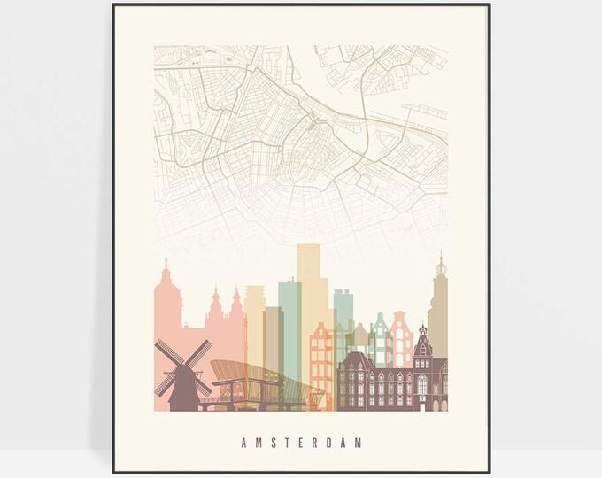 Amsterdam map poster, print, Amsterdam skyline, Wall art, City maps, Netherlands, Home Decor, Travel gift, Wall decor, ArtPrintsVicky