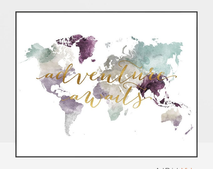 Adventure Awaits World Map Wall Art Print Poster, Map of the World Watercolour Artwork, ArtPrintsVicky
