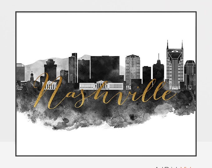 Nashville wall art, Nashville print, Black and white watercolour poster, Tennessee, Travel, City poster, Home Decor, ArtPrintsVicky