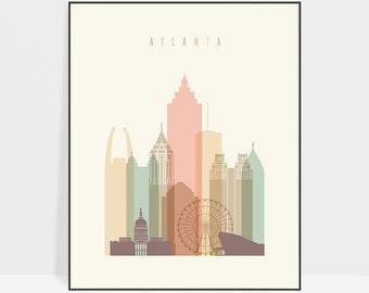 Atlanta print, Atlanta skyline, poster, Atlanta Georgia wall art, City prints, Travel Gift, Pastel, Home Decor, ArtPrintsVicky