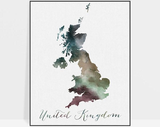 Great Britain watercolor map, Great Britain Wall art, UK map poster, United Kingdom watercolor print, England map poster,  ArtPrintsVicky
