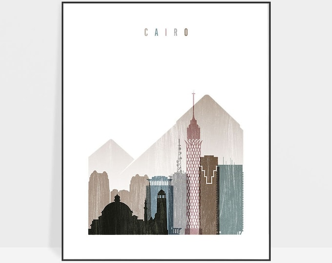 Cairo art print, Cairo skyline, Poster, Wall art, Travel Decor, Egypt art, distressed art, City poster, Gift, Home Decor, ArtPrintsVicky
