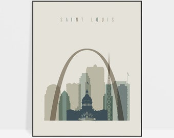 Saint Louis art print, Poster, Wall art, Saint Louis skyline, Missouri, Wall decor, City poster, Travel, gift, Home Decor, ArtPrintsVicky