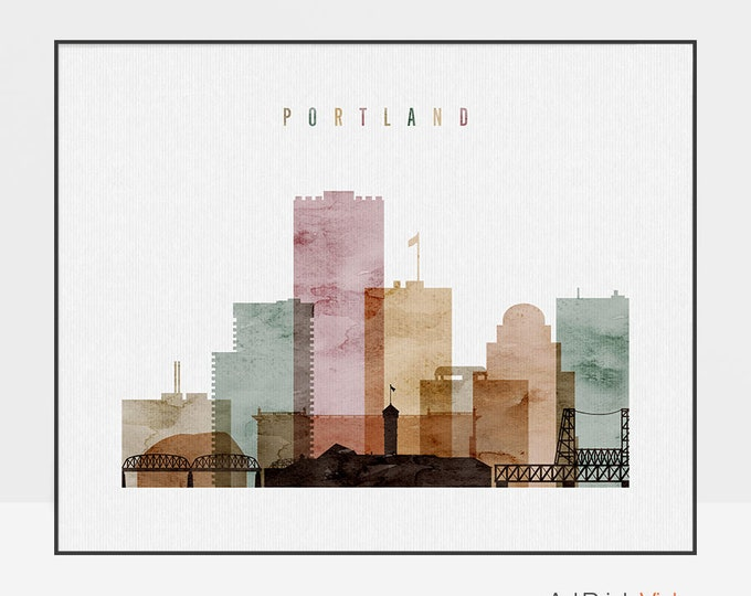 Portland wall art print, Portland watercolor poster, Portland skyline, Oregon, Travel, home decor, housewarming gift, ArtPrintsVicky