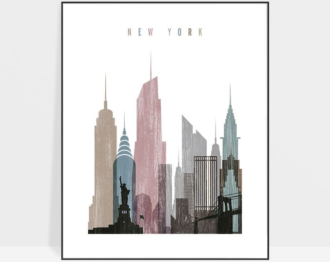 New York print, Poster, New York art, New York skyline, wall art, travel gift, Distressed, City prints, Home Decor, ArtPrintsVicky