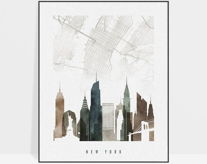 New York map poster, New York map print, New York map art, New York Skyline, City map, Travel poster, Gift, Home Decor, ArtPrintsVicky