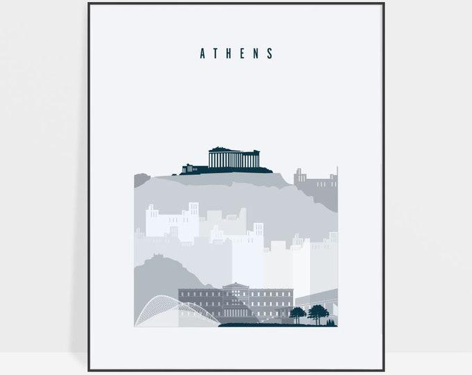 Athens skyline, art print, Athens Poster, Travel decor, Wall art, Greece, Gift, City poster, Typography art, Home Decor, ArtPrintsVicky