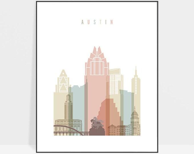 Austin print, Austin poster, Texas, Austin art, Austin skyline, Austin wall art, home decor, travel gift, ArtPrintsVicky