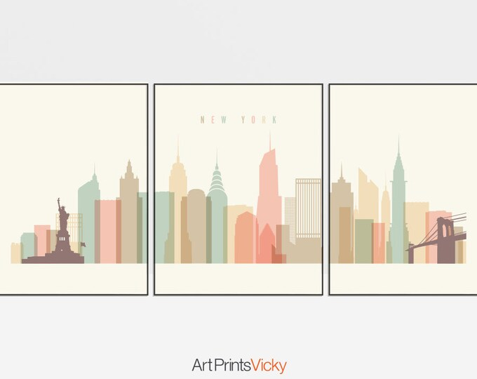 New York set of 3 prints, triptych of New York City, Wall art of New York, New York skyline, city poster, travel, home decor, ArtPrintsVicky