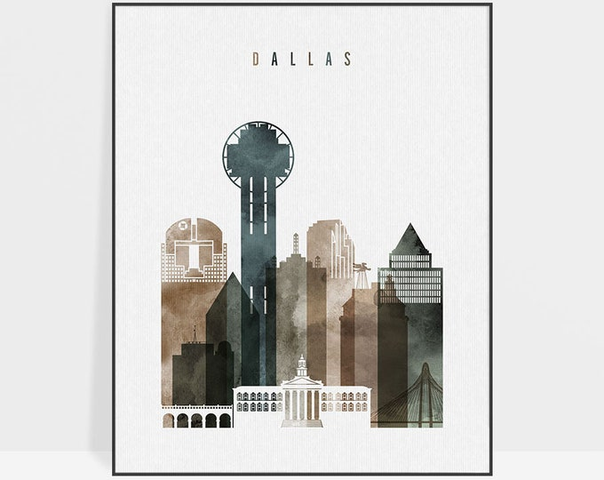 Dallas skyline, art print, Dallas watercolor poster, Wall art, Travel poster, housewarming gift, Travel gift, Home Decor, ArtPrintsVicky