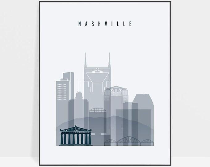 Nashville wall art, art print, Poster, Nashville skyline, Travel decor, Tennessee, City print, Gift, Home Decor, Gift, ArtPrintsVicky
