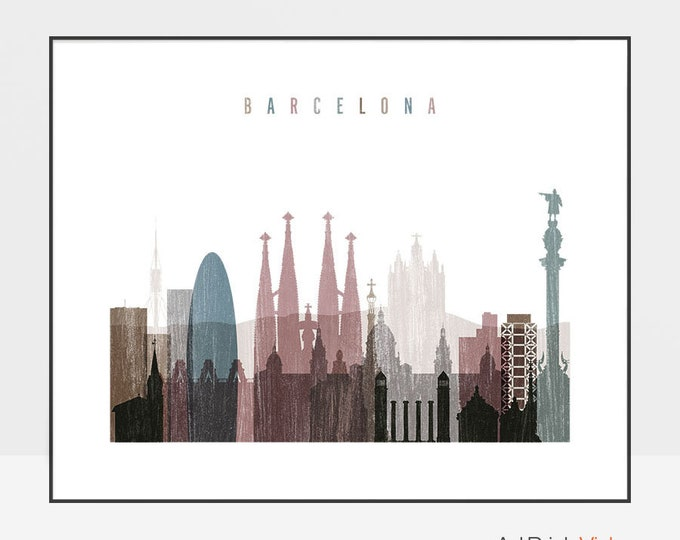 Barcelona art, Barcelona print, poster, Spain, Travel poster, Barcelona skyline, wall art, distressed, Home Decor, Gift, ArtPrintsVicky