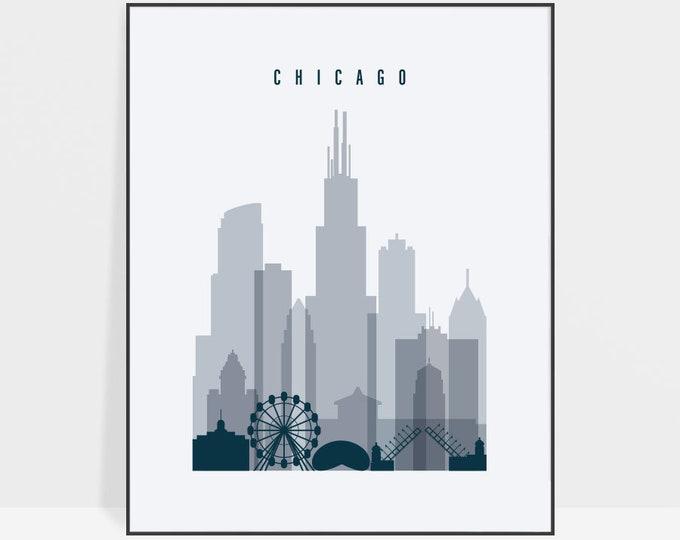 Chicago skyline art, Chicago print, Chicago Poster, Travel gift, wall art, Illinois, City prints, Office Decor, Home Decor, ArtPrintsVicky