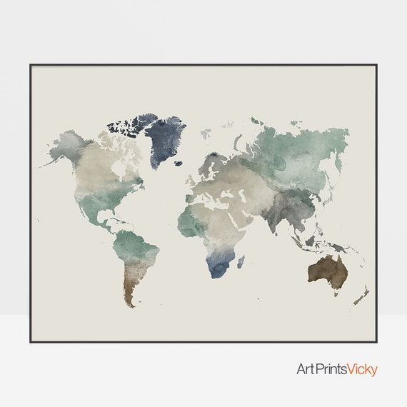 World map poster, Large world map, world map wall art, watercolor map of  the world, Travel print, gift decor, ArtPrintsVicky