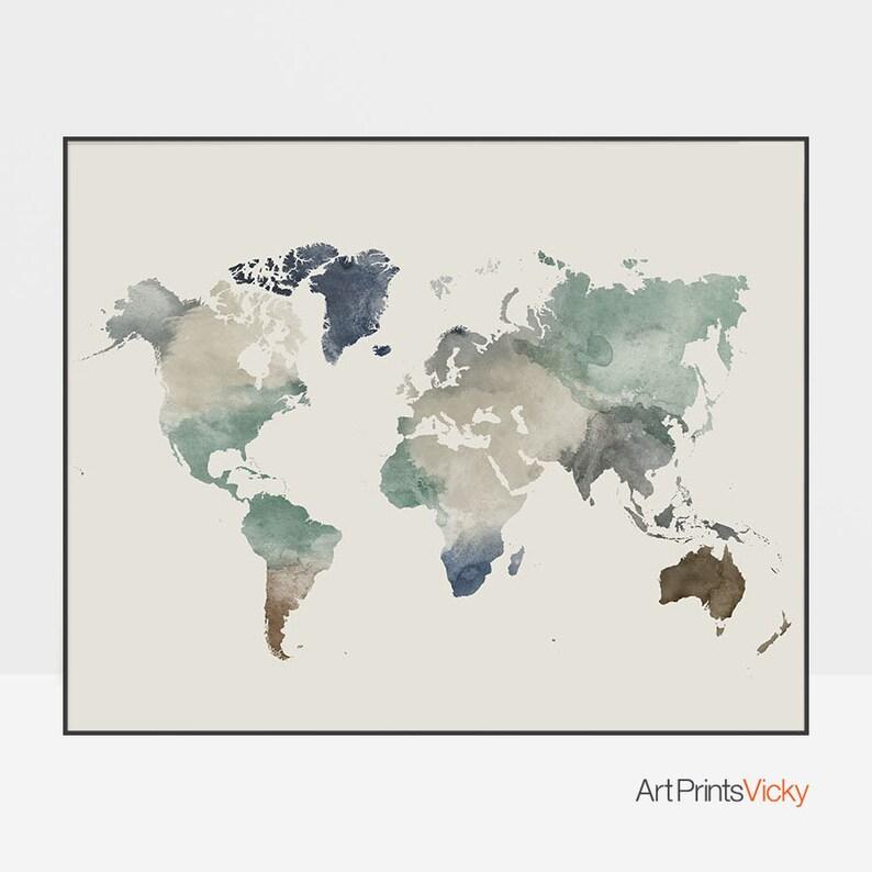World map poster Large world map world map wall art | Etsy