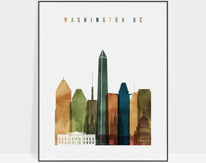 Washington DC art print, Washington skyline wall art, watercolor poster, travel decor, housewarming gift, wall decor, ArtPrintsVicky