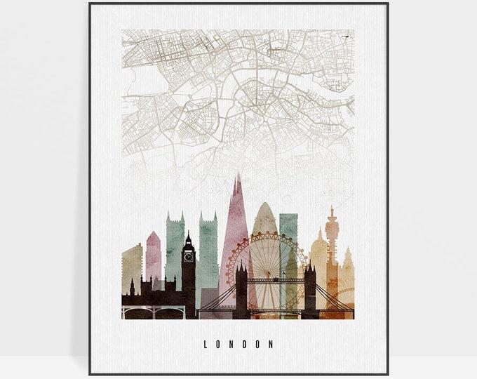 London map, London poster, London map print, London skyline, wall art, city maps, travel poster, housewarming gift Home Decor ArtPrintsVicky