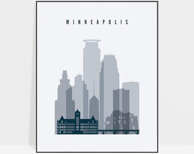 Minneapolis skyline, print, Poster, Wall art, Minnesota, Minneapolis skyline, Travel gift, City print, Home Decor, ArtPrintsVicky
