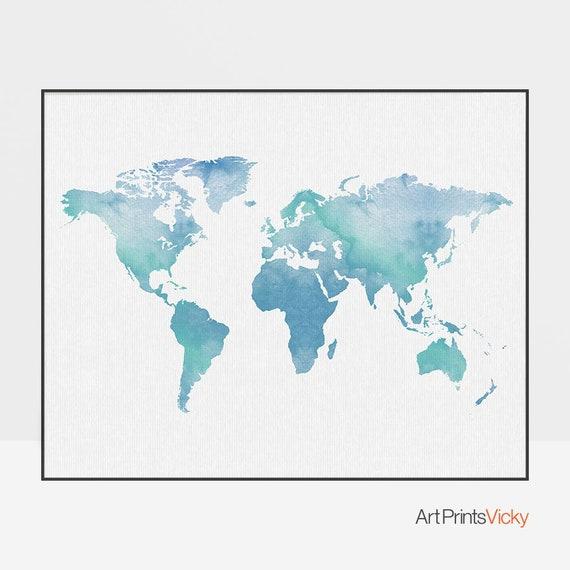 World map watercolor print, Travel Map, Large world map, world map poster,  map painting, office decor, travel gift, ArtPrintsVicky
