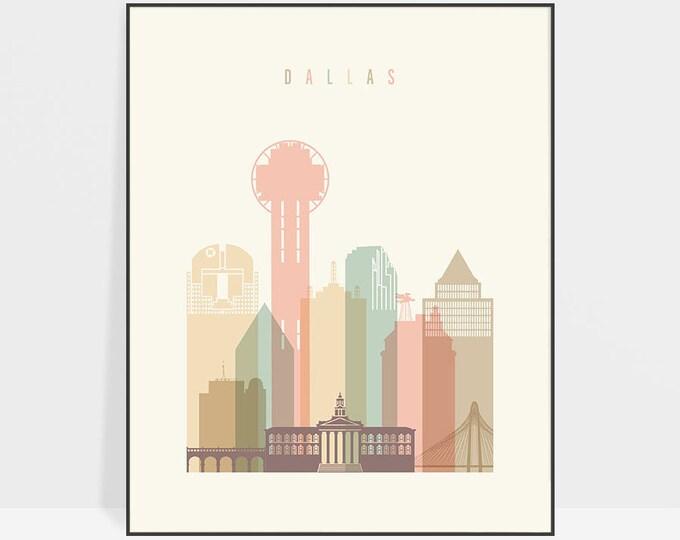 Dallas art print, Dallas wall art, Dallas Texas skyline poster, Travel poster, Typography art, Travel gift, Home decor, ArtPrintsVicky