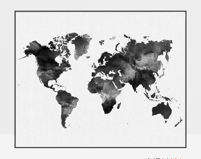 World map poster, World map art watercolor print, World map wall art, Travel Map, Large world map, black & white, gift decor, ArtPrintsVicky