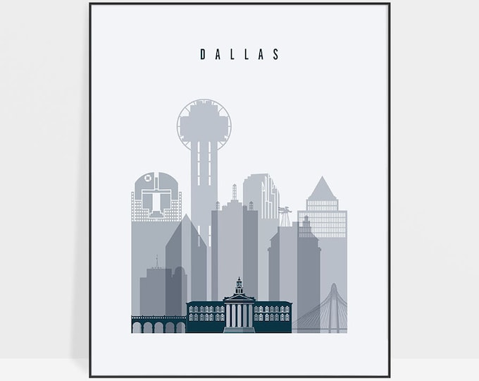 Dallas print, Poster, Dallas skyline, Wall art, Texas cityscape, city print, Typography art, Home Decor, Gift, Wall art, ArtPrintsVicky