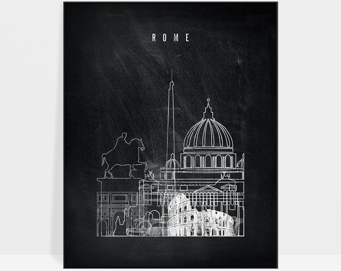 Rome print, Poster, Wall art of Rome, Italy cityscape, Rome skyline, Travel, chalkboard, Gift, Home Decor, Travel prints, ArtPrintsVicky
