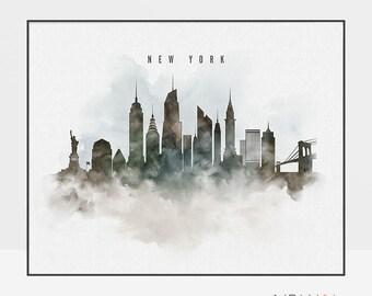 New York watercolor art print, Travel poster, skyline art, New York wall art prints, New York poster, Travel gift, home decor ArtPrintsVicky