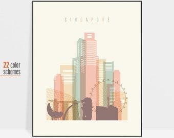 Singapore, Singapore print, Singapore skyline print, Singapore wall art, Singapore poster, travel poster, travel gift, ArtPrintsVicky