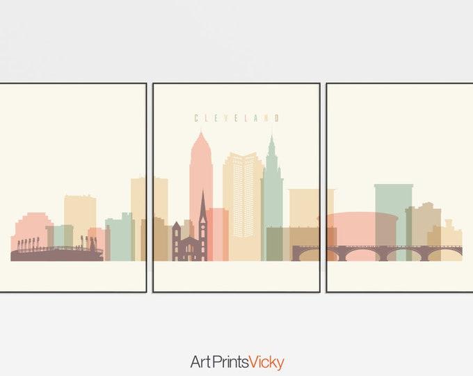 Cleveland art print, Cleveland 3 set posters, triptych, Wall Art, 3 pieces skyline, city poster, travel, gift, home decor, ArtPrintsVicky
