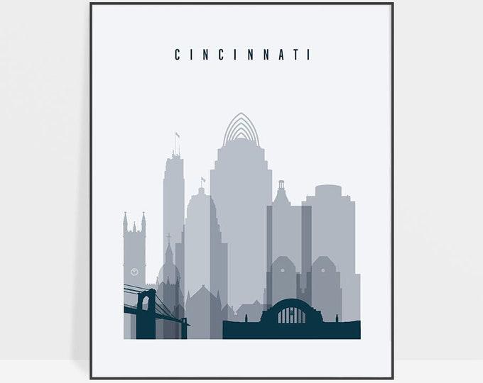 Cincinnati art print, Poster, Wall art, Cincinnati skyline, Ohio, City prints, Typography art, Home Decor, Fine Art Prints, ArtPrintsVicky