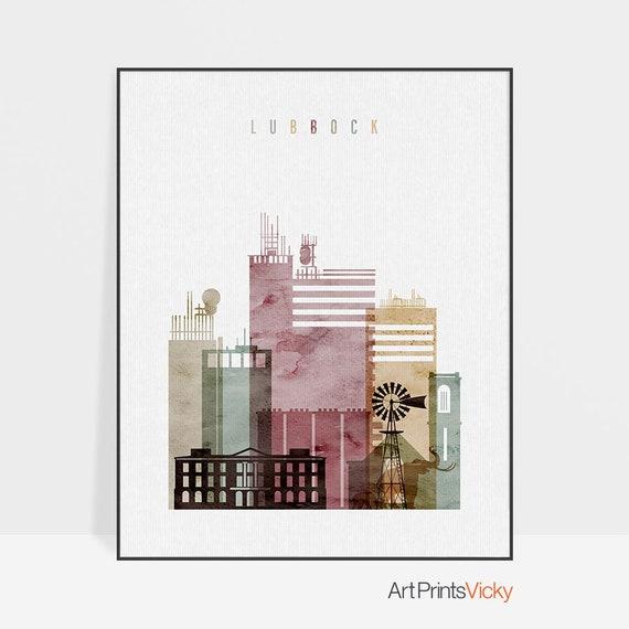 Home Decor Lubbock: Lubbock Skyline Art Print Watercolour Poster Wall Art