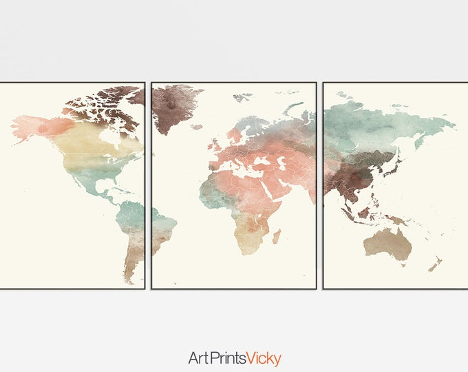 World map set of 3 prints, triptych of world map watercolour posters, 3 pieces wall art, travel decor, home decor, Gift, ArtPrintsVicky