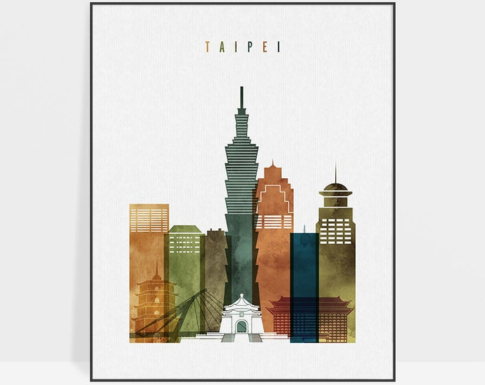 Taipei art print, Taipei skyline wall art, Taipei watercolor poster, travel decor, housewarming gift, wall decor, ArtPrintsVicky