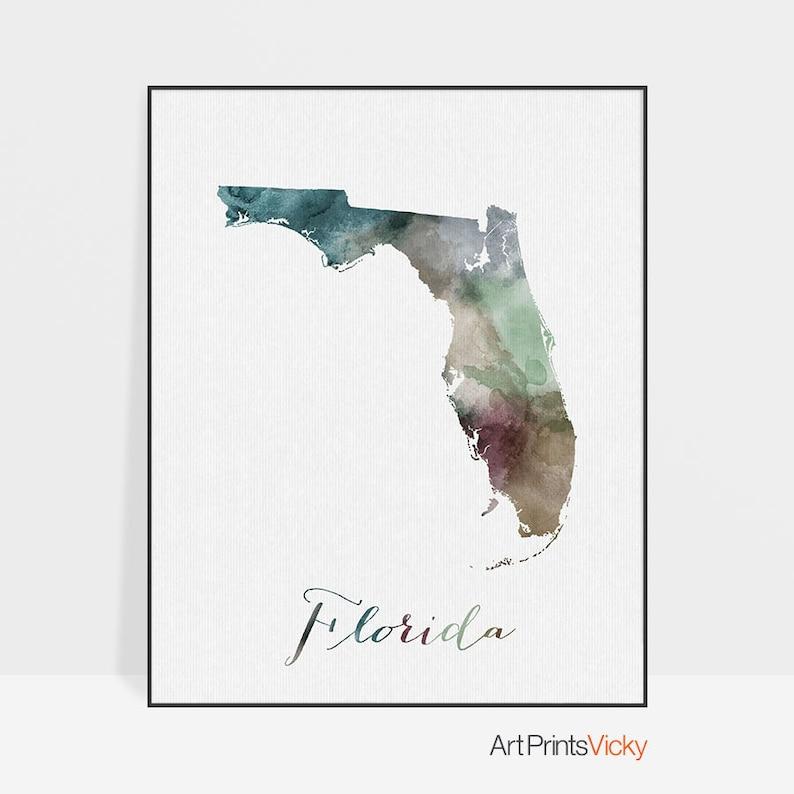 Florida Karte Drucken.Florida Karte Drucken Reise Karte Plakat Von Florida Florida State University Us Staat Druck Wandbilder Reise Plakat Aquarell Wohnkultur