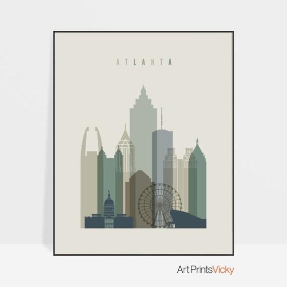 Atlanta print Poster Atlanta wall art Atlanta art Atlanta | Etsy