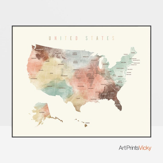 United States map print, USA map poster with states names, Large Travel,  USA map watercolor, Office decor, Travel Gift, ArtPrintsVicky.