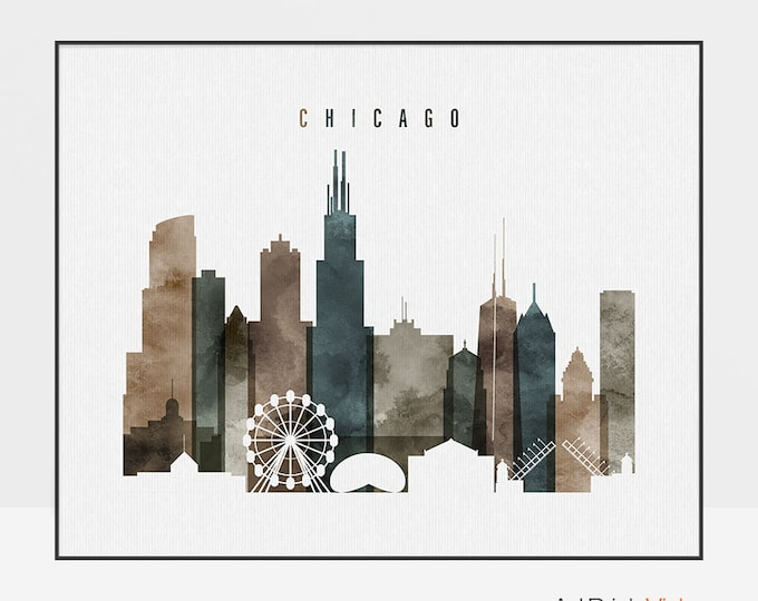 Chicago skyline print, poster, Chicago watercolor wall art, Illinois cityscape, City prints, Home decor, Travel gift, ArtPrintsVicky