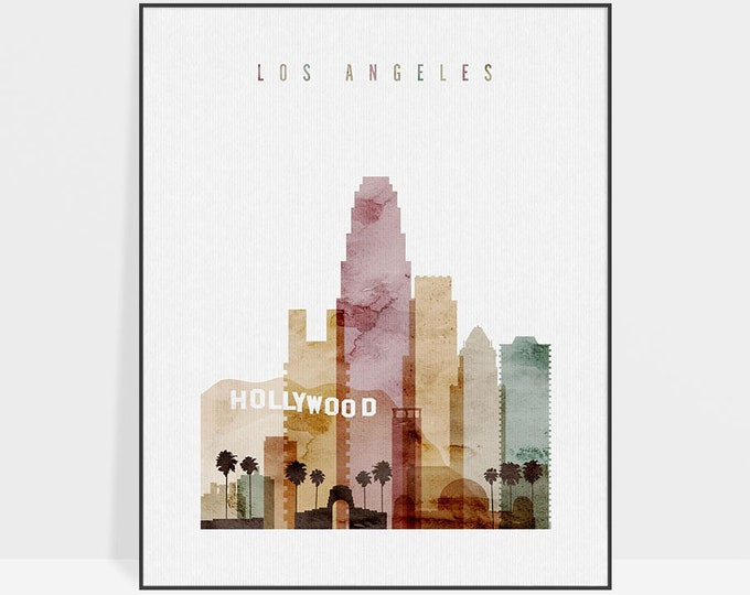 Los Angeles poster, Wall art, Los Angeles watercolor skyline print, LA California poster, typography art print, ArtPrintsVicky