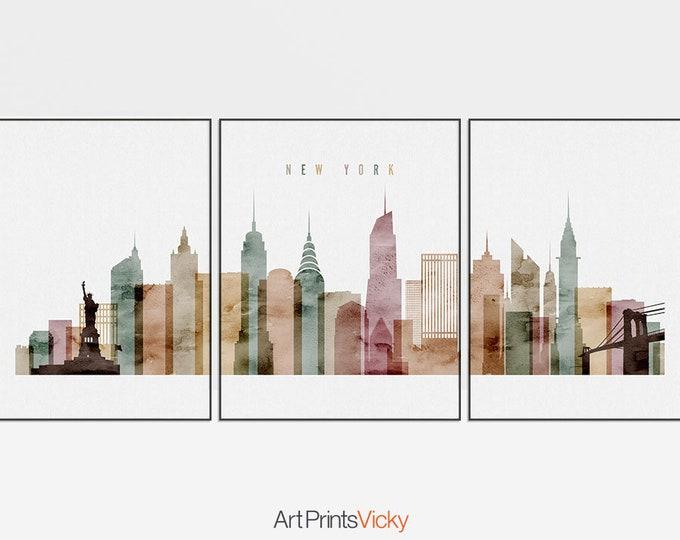 New York 3 print set, New York 3 poster set, Wall art, travel, NYC triptych wall art, NYC skyline set, city art, home decor, ArtPrintsVicky