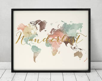 Wanderlust, World map art, poster, world map pastel, Large world map, Travel map, Map art, faux gold, Travel gift, Home Decor ArtPrintsVicky