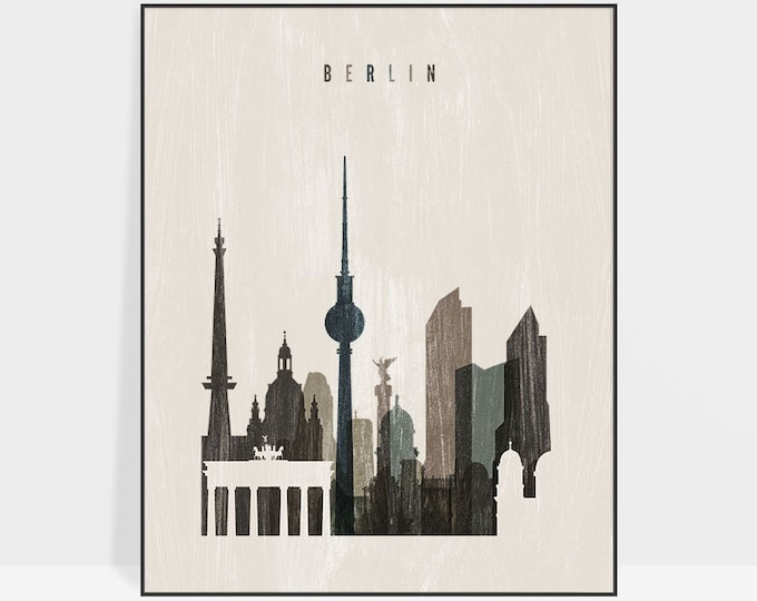 Berlin skyline, Berlin print, poster, Wall art, Berlin art, Germany, City print, Travel poster, Home Decor, gift, distressed, ArtPrintsVicky