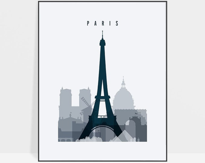 Paris wall art, poster Paris print, Paris skyline, Poster, Travel, France, bedroom decor, Gift, Wall Decor, Home decor, ArtPrintsVicky.