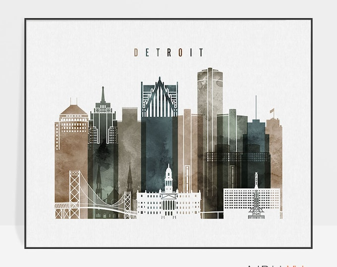 Detroit wall art, print, poster, Detroit skyline, watercolor print, travel, city print, Michigan, Gift, Home Decor, ArtPrintsVicky.