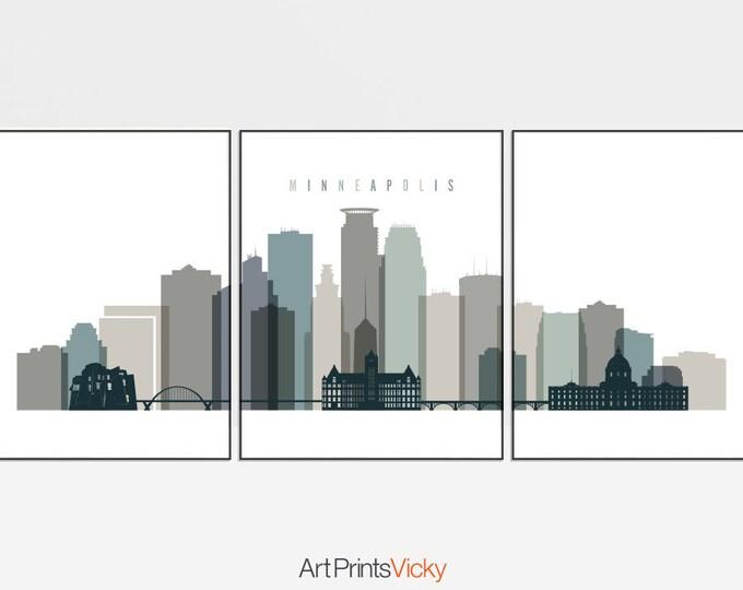 Minneapolis set of 3 prints, Minneapolis 3 piece wall art skyline, Triptych, Travel, large posters, housewarming gift, ArtPrintsVicky