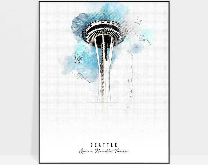 Seattle art print, Space Needle Tower print, poster, Seattle poster, wall art, Contemporary art, Travel gift, home decor, ArtPrintsVicky