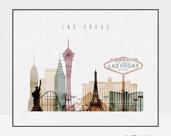 Las Vegas skyline,  Las Vegas art print, watercolor poster, Nevada cityscape, wall art, travel gifts, ArtPrintsVicky