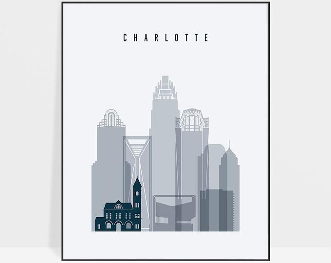 Charlotte, North Carolina, Charlotte print, poster, Charlotte skyline, Charlotte art, home decor, travel poster, city print, ArtPrintsVicky