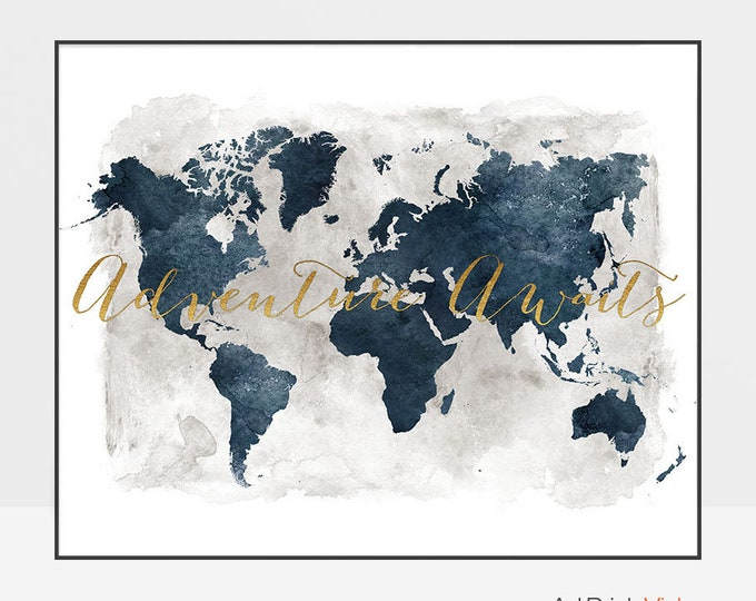 Travel art, World map poster, Adventure awaits, World map wall art, Large world map, travel map, faux gold text, ArtPrintsVicky