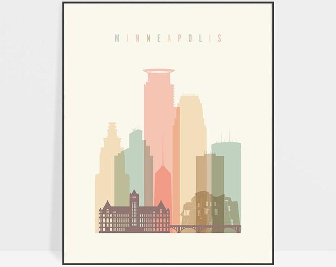 Minneapolis print, Minneapolis art, poster, Minneapolis skyline, Minnesota wall art, Travel gift, City prints, Home Decor, ArtPrintsVicky